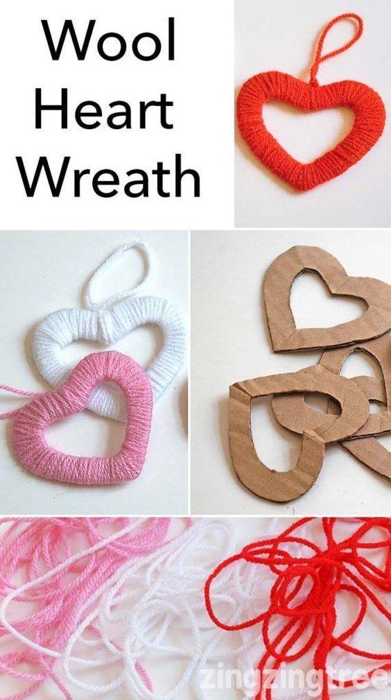 Декоративные сердечки из картона и ниток