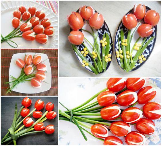 Закуска из помидор в виде тюльпанов