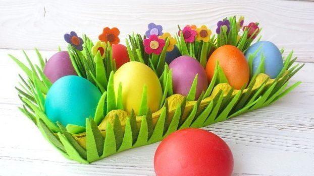 Корзинка для пасхальных яиц из картонного лотка своими руками