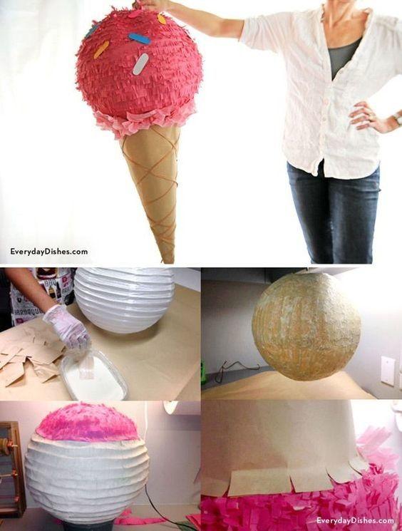 Мороженое в рожке из бумажного фонарика