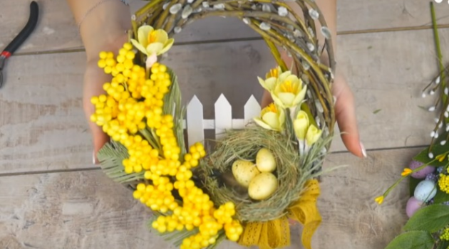 Веточка мимозы своими руками для пасхального декора