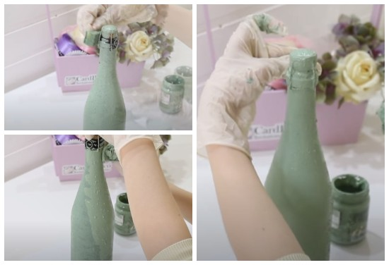 Окрашивание бутылки акриловой краской