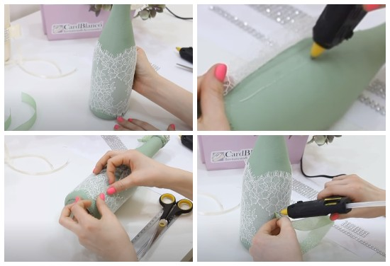 Как украсить бутылку кружевом