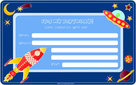 Приглашения на детский День рождения в стиле космос