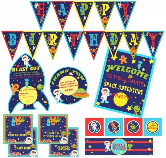 Шаблоны для детского дня рождения в космическом стиле