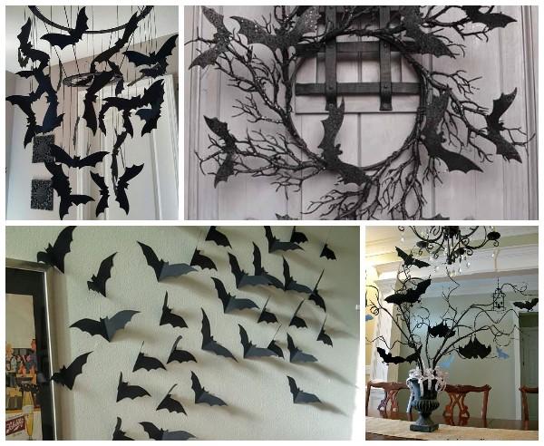 Летучие мыши из бумаги для декора на Хэллоуин