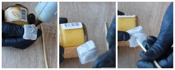 Как закрепить банку в сладком букете