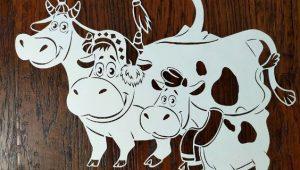 Бесплатные трафареты и шаблоны бычков, коров